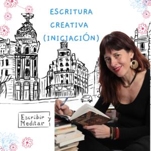 Isabel Cañelles en su taller de escritura, de fondo Madrid