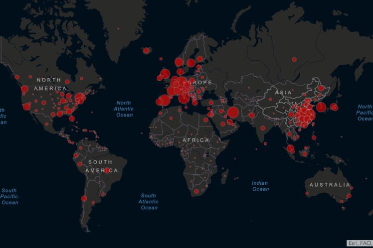 Mapa de la pandemia de coronavirus, atravesar el miedo